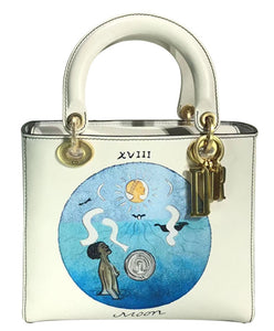 Christian Dior Lady Dior Handpainted Motherpeace Tarot Handbag White
