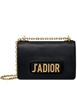 Christian Dior J'ADIOR Flap Bag With Chain In Calfskin Black