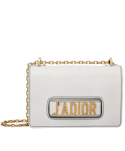 Christian Dior J'ADIOR Flap Bag With Chain In Calfskin White