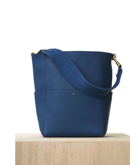 Celine Burgundy Sangle Seau Tote Bag Blue