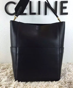 Celine Burgundy Sangle Seau Tote Bag Black