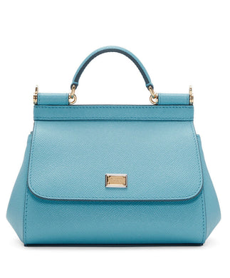 Dolce & Gabbana Small Dauphine Leather Sicily Bag 20cm Light Blue - hn4us