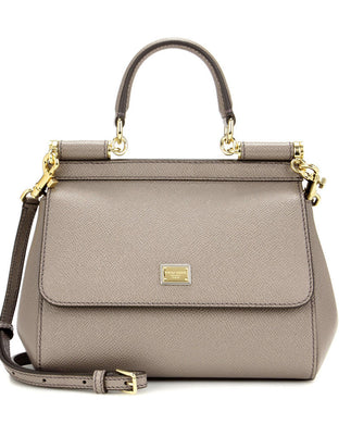 Dolce & Gabbana Small Dauphine Leather Sicily Bag 20cm Gray - hn4us