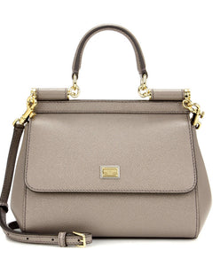 Dolce & Gabbana Small Dauphine Leather Sicily Bag 20cm Gray
