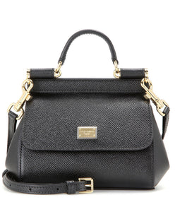 Dolce & Gabbana Small Dauphine Leather Sicily Bag 20cm Black - hn4us
