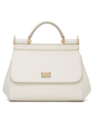 Dolce & Gabbana Small Dauphine Leather Sicily Bag 20cm Cream - hn4us