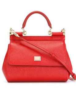 Dolce & Gabbana Small Dauphine Leather Sicily Bag 20cm Red - hn4us