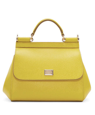 Dolce & Gabbana Small Dauphine Leather Sicily Bag 20cm Yellow - hn4us