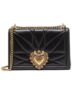 Dolce & Gabbana Medium Devotion Bag In Quilted Nappa Leather in Optical Black
