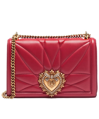 Dolce & Gabbana Medium Devotion Bag In Quilted Nappa Leather in Optical Red