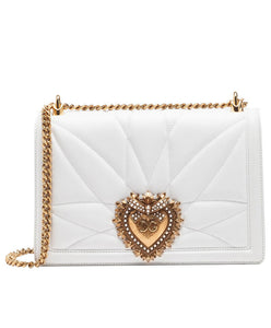 Dolce & Gabbana Medium Devotion Bag In Quilted Nappa Leather in Optical White - hn4us