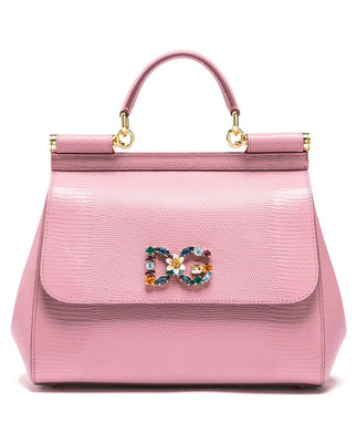 Dolce & Gabbana Small Sicily Handbag In Iguana Print Calfskin With Dg Logo Crystals in Pink