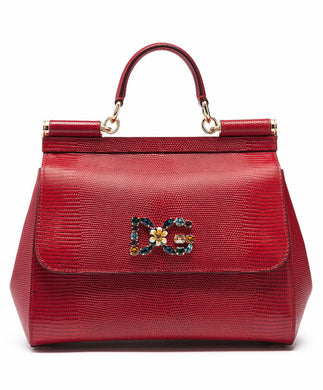 Dolce & Gabbana Small Sicily Handbag In Iguana Print Calfskin With Dg Logo Crystals In Red