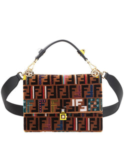 Fendi Kan I Medium Velvet Shoulder Bag Brown