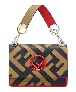Fendi KAN I LOGO Multicolor Leather Bag Apricot