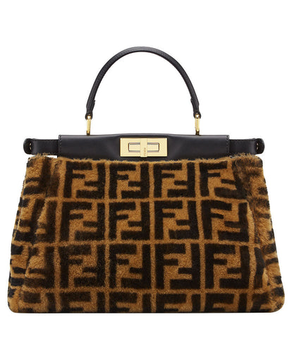 Fendi Peekaboo Regular Sheepskin Bag Coffee