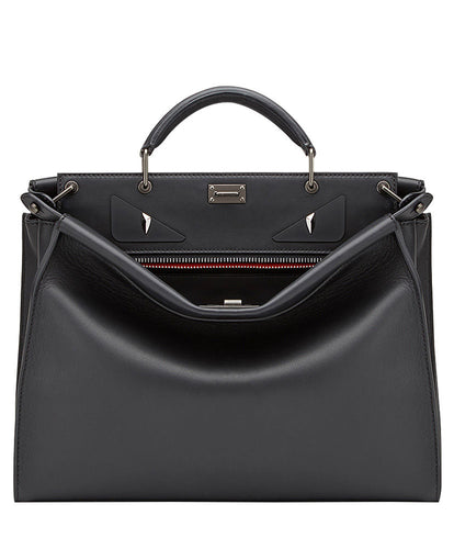 Fendi PEEKABOO FIT Smooth Black Leather Bag
