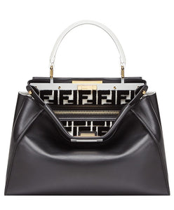 Fendi PEEKABOO Regular Multicolour Leather Bag Black