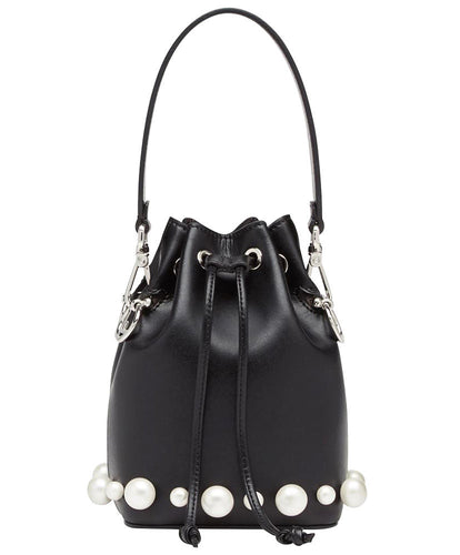 Fendi Women's Black Mon Tresor Leather Bucket Bag