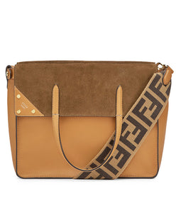 Fendi Flip Large Brown Leather And Suede Bag Brown