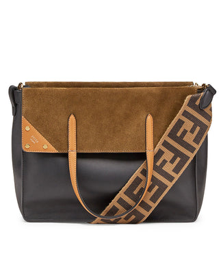 Fendi Flip Large Brown Leather And Suede Bag Black