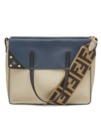 Fendi Flip Large Brown Leather And Suede Bag Cream