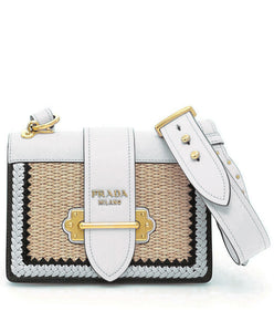 Prada cahier woven straw and leather bag