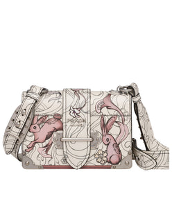 Prada Cahier Printed Leather Bag White