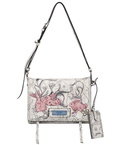 Prada Etiquette Printed Leather Bag White