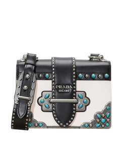 Prada cahier studded calf leather bag White