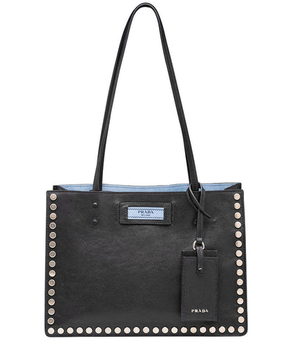 Prada Etiquette fabric tote with metal stud trim 3 colors