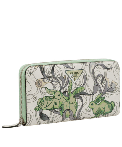 Prada Printed Leather Wallet Green