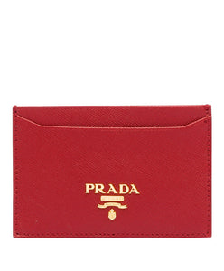 Prada logo card holder Red