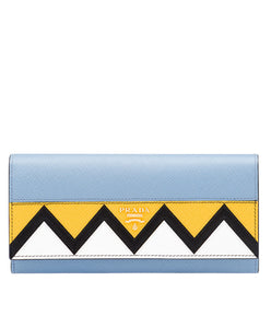 Prada Saffiano Leather Flap Wallet L Blue