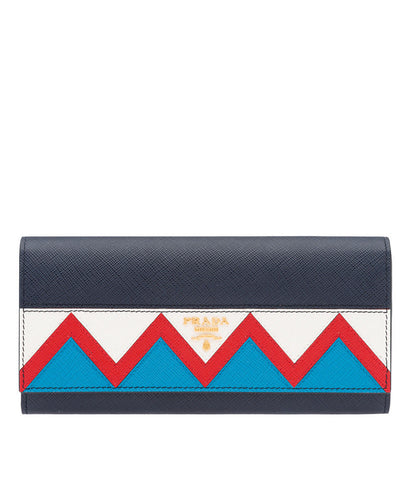 Prada Saffiano Leather Flap Wallet D Blue