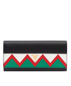 Prada Saffiano Leather Flap Wallet Black