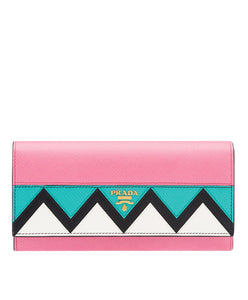 Prada Saffiano Leather Flap Wallet Pink