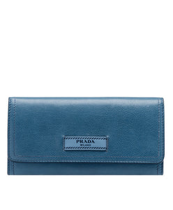 Prada Etiquette Calf leather Flap Wallet Blue