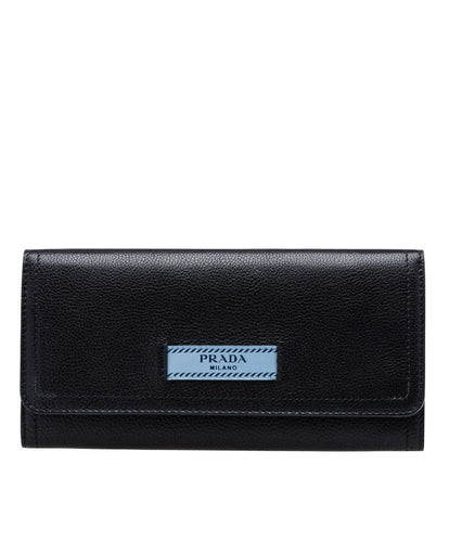 Prada Etiquette Calf leather Flap Wallet Black
