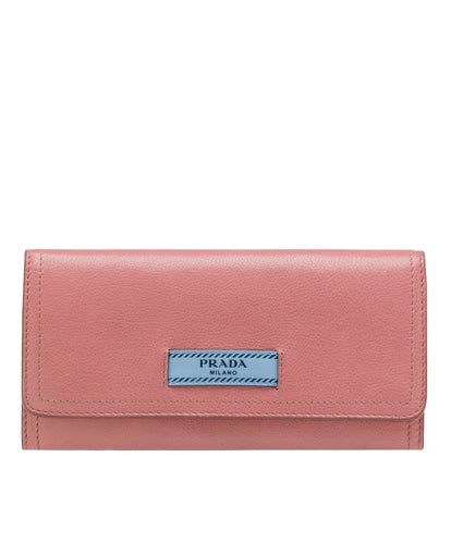 Prada Etiquette Calf leather Flap Wallet Pink