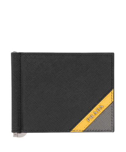 Prada Saffiano Leather Wallet Yellow