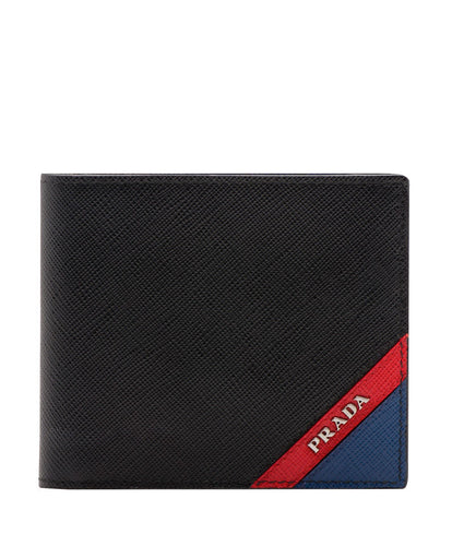 Prada Saffiano leather wallet with intarsia Red