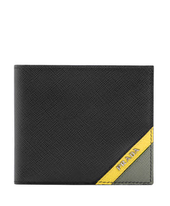 Prada Saffiano leather wallet with intarsia Yellow