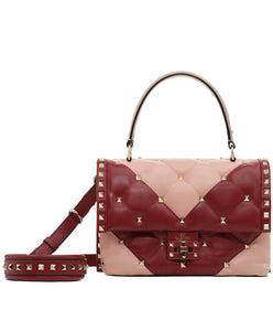 Valentino Pink/Red V Intarsia Candystud Top Handle Bag