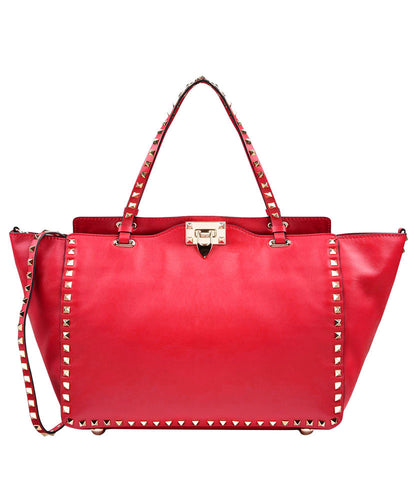 Valentino Large Rockstud Tote Red