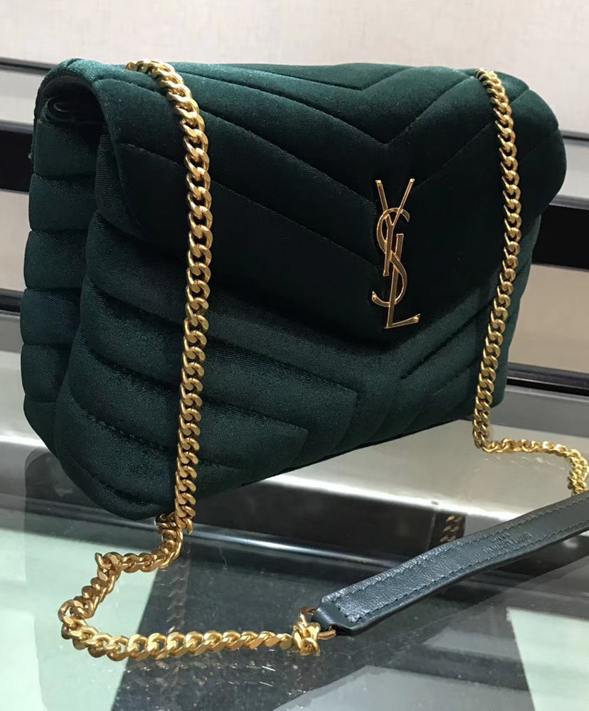 b18fb05187 ... Saint Laurent Loulou Small Monogram Matelasse Velvet Chain Shoulder Bag  4 colors ...