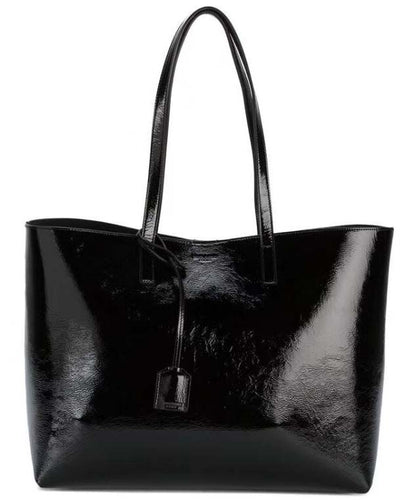 Saint Laurent Patent Leather Shopping tote bag Black
