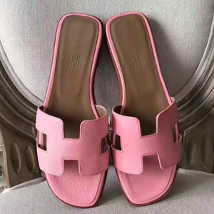 Hermes Oran Sandals In Pink Epsom Leather