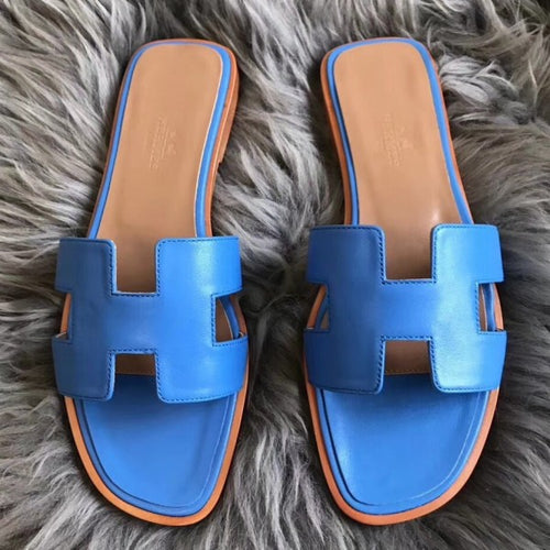 Hermes Oran Sandals In Blue Swift Leather