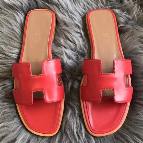 Hermes Oran Sandals In Red Swift Leather